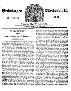 Grünberger Wochenblatt vom 01.03.1858