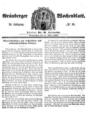 Grünberger Wochenblatt vom 04.03.1858