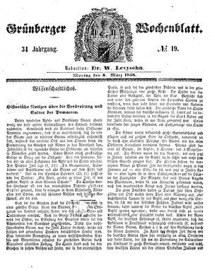 Grünberger Wochenblatt vom 08.03.1858