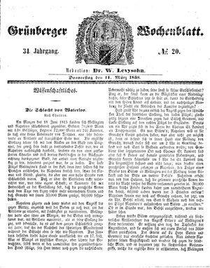 Grünberger Wochenblatt vom 11.03.1858