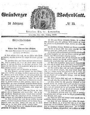 Grünberger Wochenblatt vom 22.03.1858