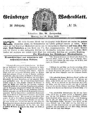 Grünberger Wochenblatt vom 29.03.1858