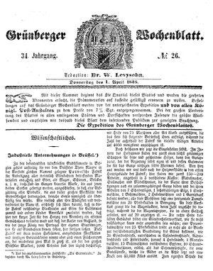Grünberger Wochenblatt vom 01.04.1858