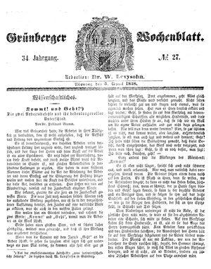 Grünberger Wochenblatt vom 05.04.1858