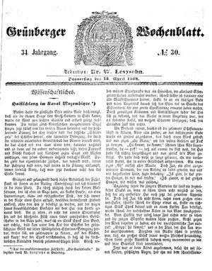 Grünberger Wochenblatt vom 15.04.1858