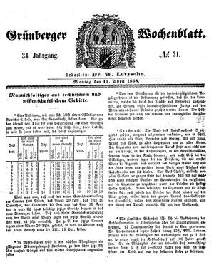 Grünberger Wochenblatt vom 19.04.1858