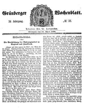 Grünberger Wochenblatt vom 21.04.1858