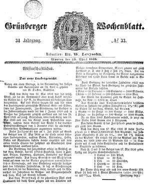 Grünberger Wochenblatt vom 26.04.1858