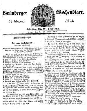 Grünberger Wochenblatt vom 29.04.1858