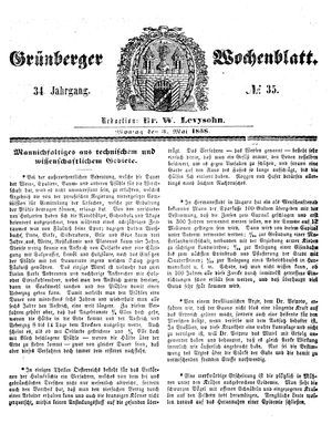 Grünberger Wochenblatt vom 03.05.1858