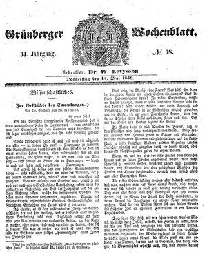 Grünberger Wochenblatt vom 13.05.1858