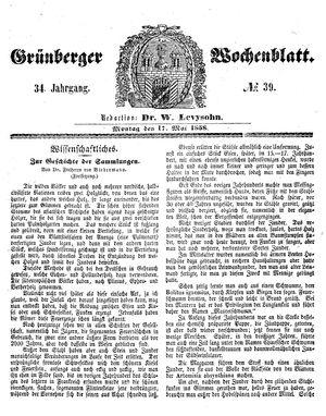 Grünberger Wochenblatt vom 17.05.1858