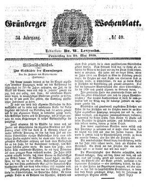 Grünberger Wochenblatt vom 20.05.1858