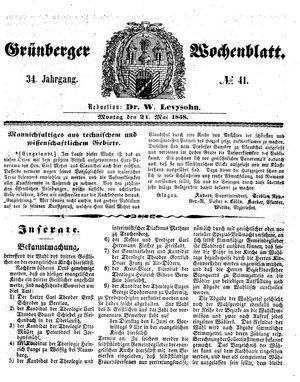 Grünberger Wochenblatt vom 24.05.1858