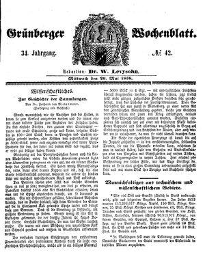 Grünberger Wochenblatt vom 26.05.1858