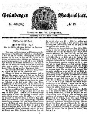Grünberger Wochenblatt vom 31.05.1858