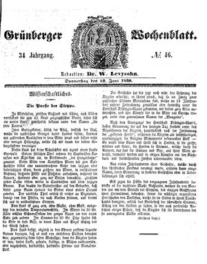 Grünberger Wochenblatt vom 10.06.1858