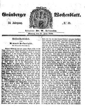 Grünberger Wochenblatt vom 21.06.1858