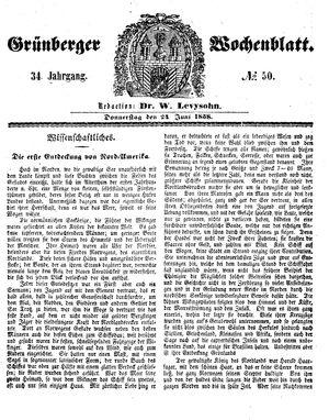 Grünberger Wochenblatt vom 24.06.1858