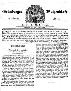Grünberger Wochenblatt vom 28.06.1858