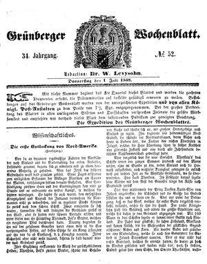 Grünberger Wochenblatt vom 01.07.1858