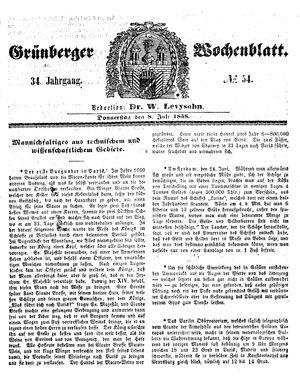 Grünberger Wochenblatt vom 08.07.1858