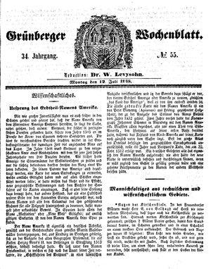 Grünberger Wochenblatt vom 12.07.1858