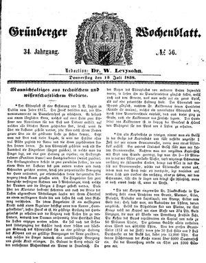 Grünberger Wochenblatt vom 15.07.1858