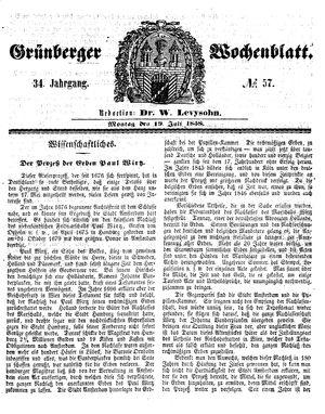 Grünberger Wochenblatt vom 19.07.1858