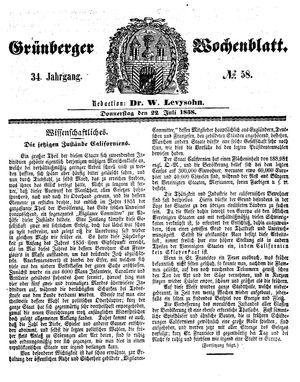 Grünberger Wochenblatt vom 22.07.1858