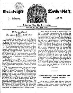 Grünberger Wochenblatt vom 26.07.1858