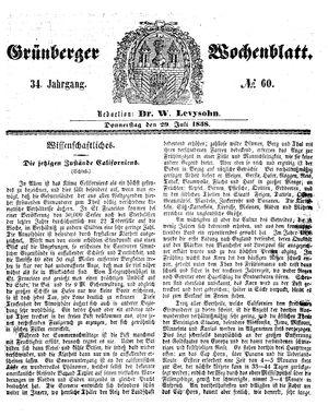 Grünberger Wochenblatt vom 29.07.1858