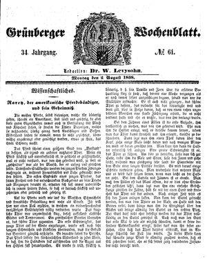 Grünberger Wochenblatt vom 02.08.1858