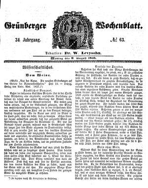 Grünberger Wochenblatt vom 09.08.1858
