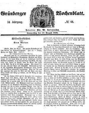 Grünberger Wochenblatt vom 19.08.1858