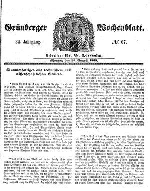 Grünberger Wochenblatt vom 23.08.1858