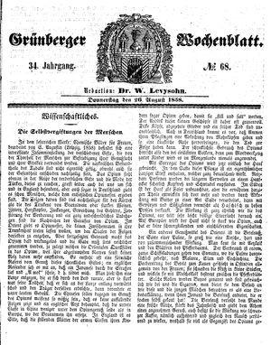 Grünberger Wochenblatt vom 26.08.1858