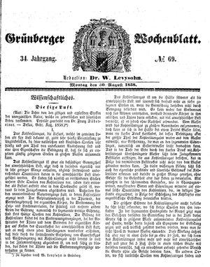 Grünberger Wochenblatt vom 30.08.1858