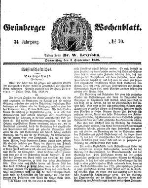 Grünberger Wochenblatt vom 02.09.1858