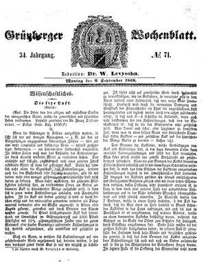 Grünberger Wochenblatt vom 06.09.1858