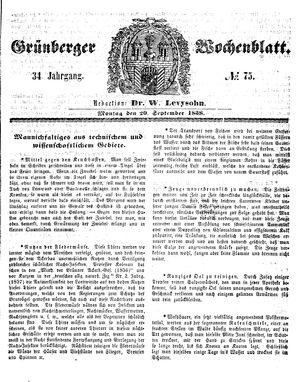 Grünberger Wochenblatt on Sep 20, 1858