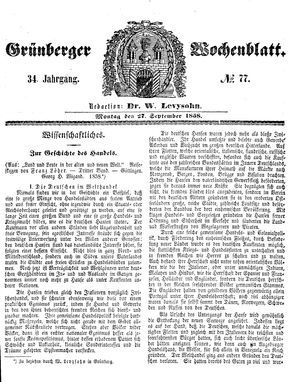 Grünberger Wochenblatt vom 27.09.1858