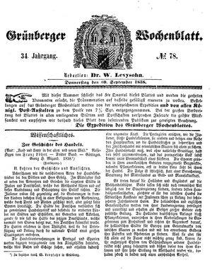 Grünberger Wochenblatt vom 30.09.1858