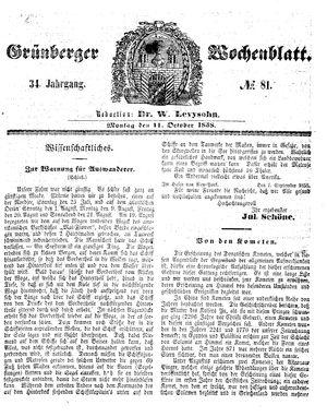 Grünberger Wochenblatt vom 11.10.1858