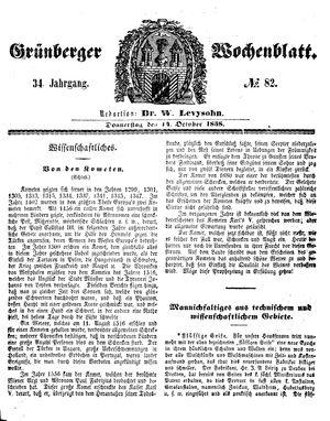 Grünberger Wochenblatt on Oct 14, 1858