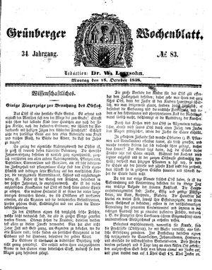 Grünberger Wochenblatt vom 18.10.1858