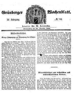 Grünberger Wochenblatt vom 21.10.1858