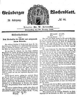 Grünberger Wochenblatt on Oct 28, 1858