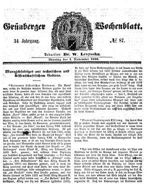 Grünberger Wochenblatt vom 01.11.1858