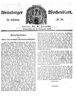 Grünberger Wochenblatt on Nov 4, 1858